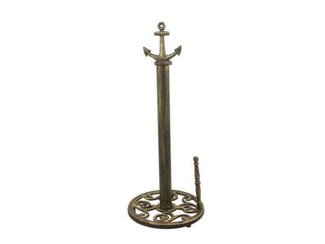 Rustic Gold Cast Iron Anchor Paper Towel Holder 16