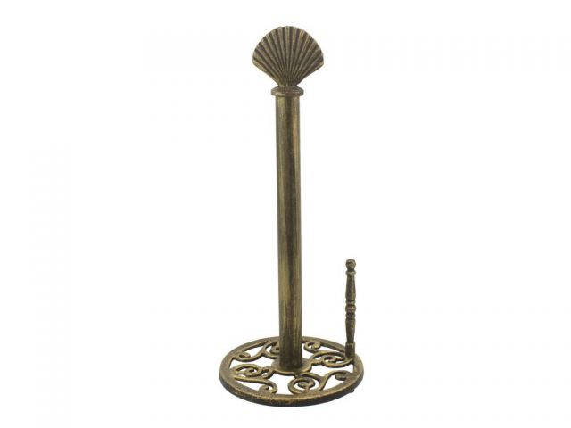 Rustic Gold Cast Iron Seashell Paper Towel Holder 16