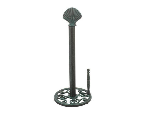 Seaworn Blue Cast Iron Seashell Paper Towel Holder 16