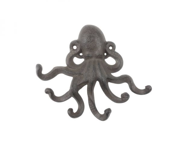 Cast Iron Decorative Wall Mounted Octopus with Six Hooks 7