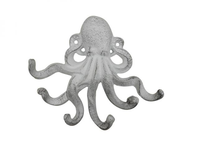 Whitewashed Cast Iron Decorative Wall Mounted Octopus with Six Hooks 7