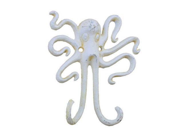 Antique White Cast Iron Decorative Wall Mounted Octopus Hooks 6