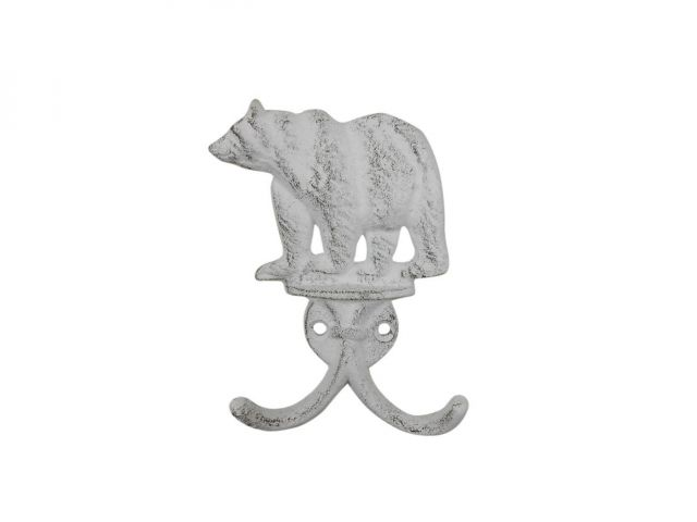 Whitewashed Cast Iron Black Bear Decorative Metal Wall Hooks 5.5
