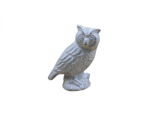 Whitewashed Cast Iron Owl Metal Door Stop 6