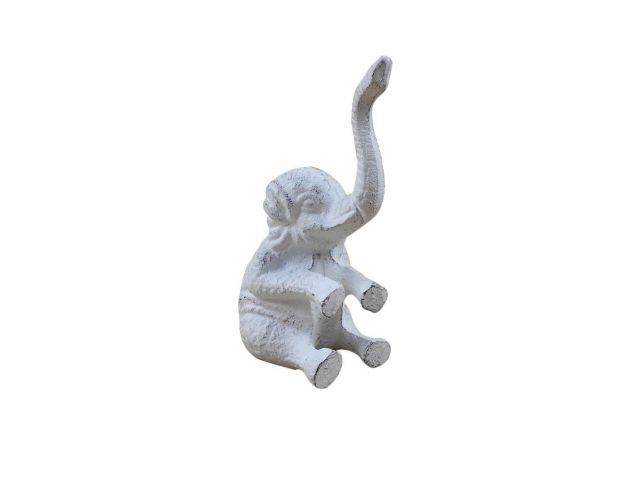 Whitewashed Cast Iron Elephant Metal Door Stop 8