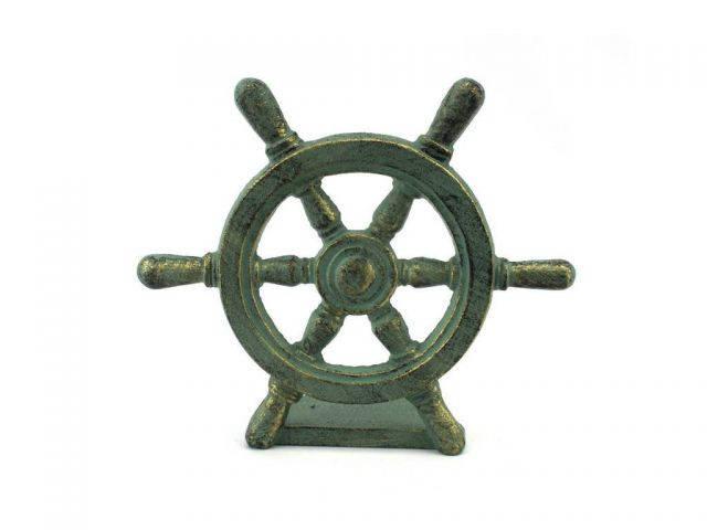 Antique Bronze Cast Iron Ship Wheel Door Stopper 9