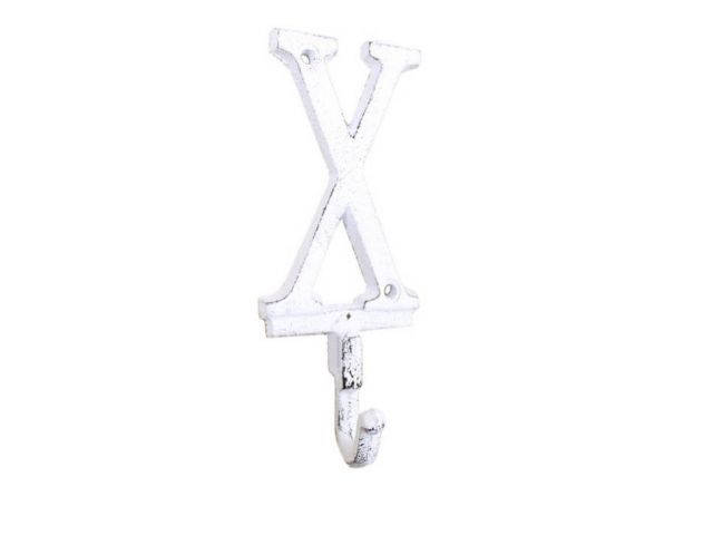 Whitewashed Cast Iron Letter X Alphabet Wall Hook 6