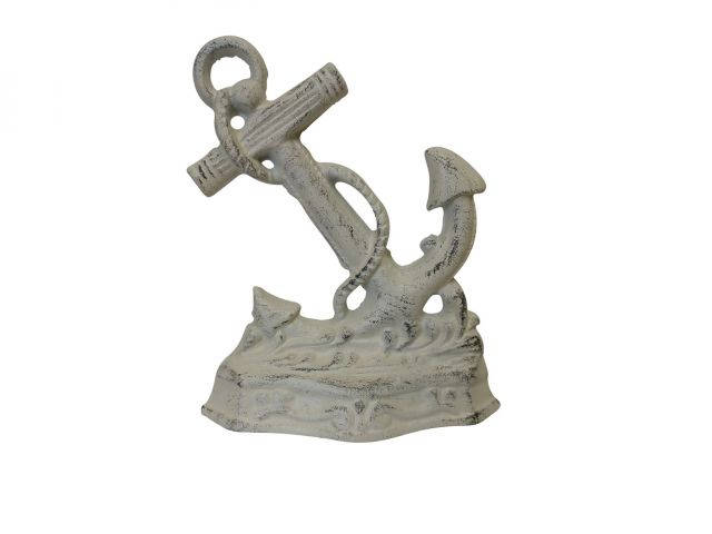 Aged White Cast Iron Anchor Door Stopper 8