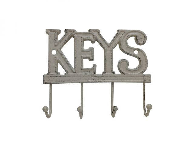 Aged White Cast Iron Keys Hooks 8