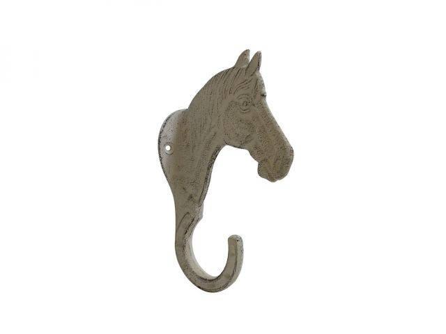 Aged White Cast Iron Horse Hook 8