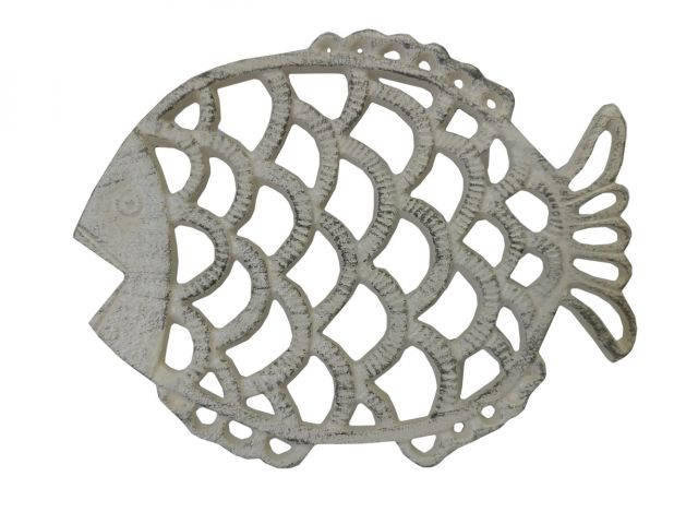 Aged White Cast Iron Big Fish Trivet 8