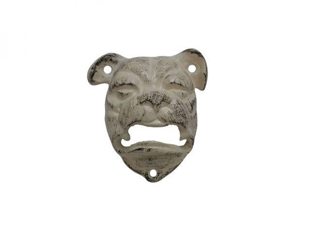 Aged White Cast Iron Bulldog Bottle Opener 4