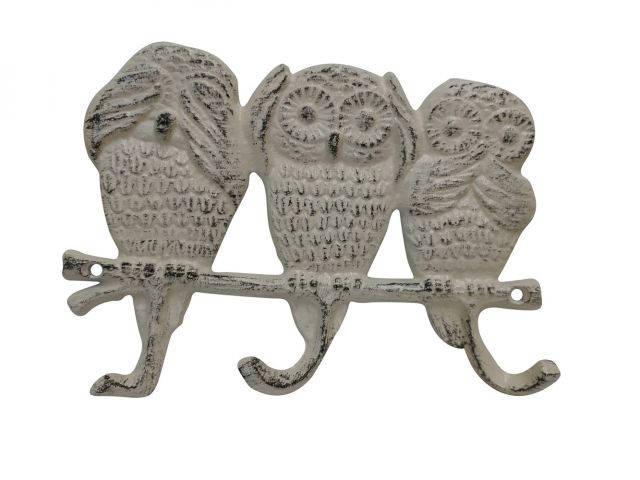 Aged White Cast Iron Owl Wall Hooks 9