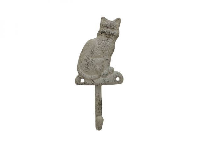 Aged White Cast Iron Cat Hook 7