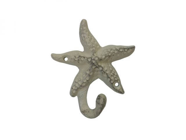 Aged White Cast Iron Starfish Hook 4