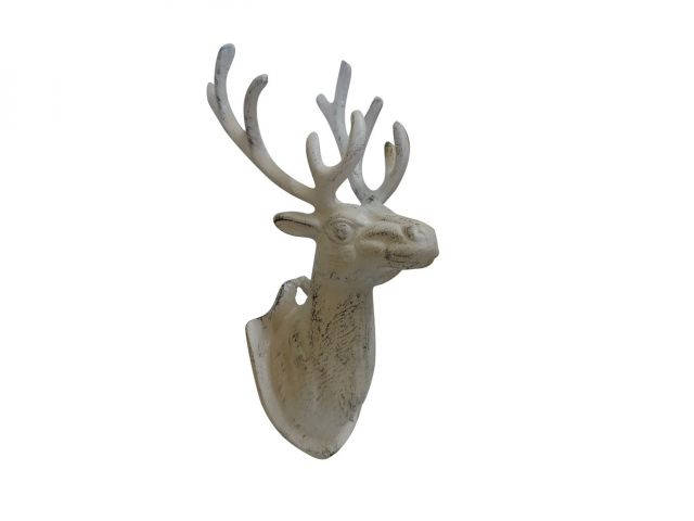 Aged White Cast Iron Deer Hook 12