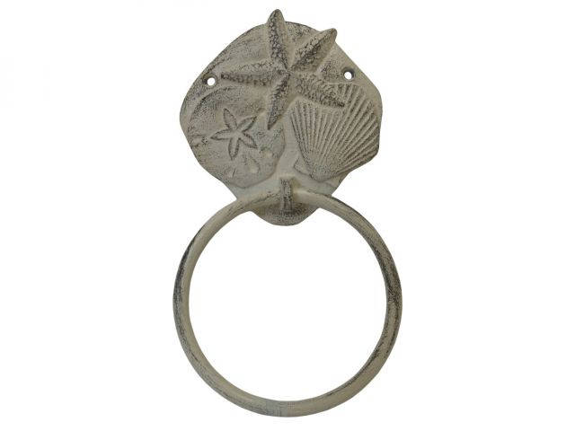 Aged White Cast Iron Shell Sand Dollar Starfish Towel Holder 8