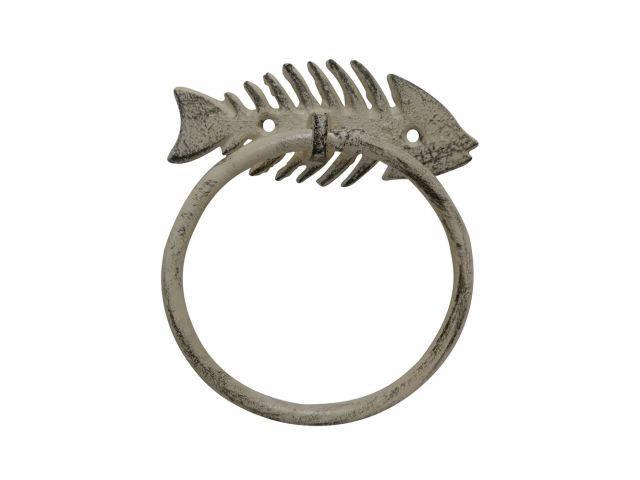 Aged White Cast Iron Fish Bone Towel Holder 5.5