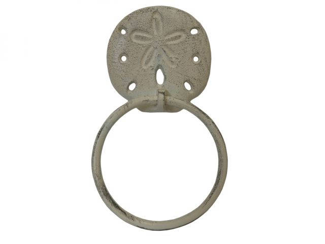 Aged White Cast Iron Sand Dollar Towel Holder 8