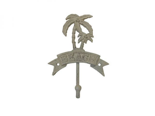 Aged White Cast Iron Palm Tree Beach Hook 8