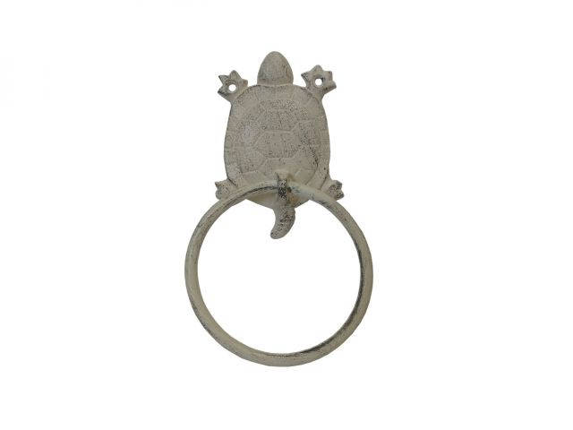 Aged White Cast Iron Turtle Towel Holder 8