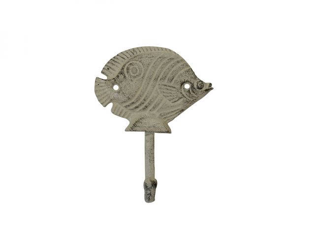 Aged White Cast Iron Butterfly Fish Wall Hook 6