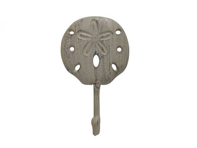Aged White Cast Iron Sand Dollar Wall Hook 7