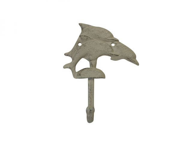 Aged White Cast Iron Dolphins Wall Hook 6