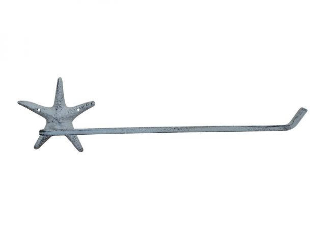 Whitewashed Cast Iron Starfish Wall Mounted Paper Towel Holder 18