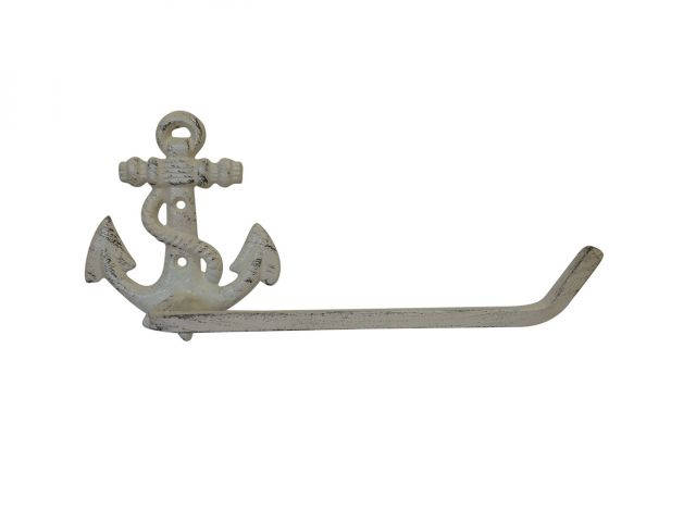 Aged White Cast Iron Anchor Toilet Paper Holder 10