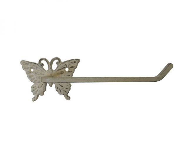 Aged White Cast Iron Butterfly Toilet Paper Holder 11