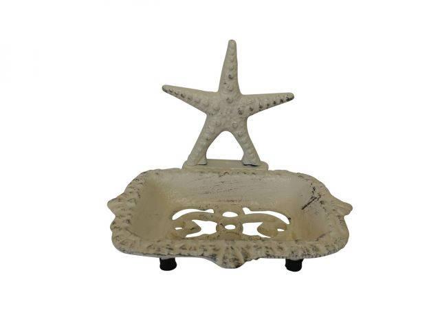 Aged White Cast Iron Starfish Soap Dish 6