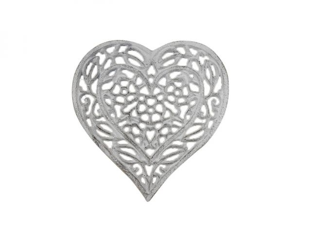 Whitewashed Cast Iron Heart Shaped Trivet 7