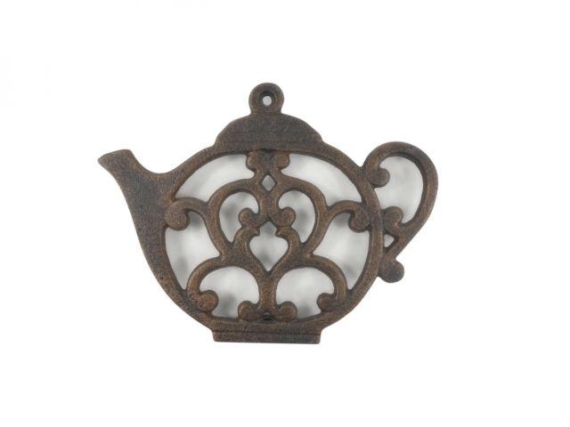 Rustic Copper Cast Iron Round Teapot Trivet 8