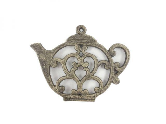 Rustic Gold Cast Iron Round Teapot Trivet 8