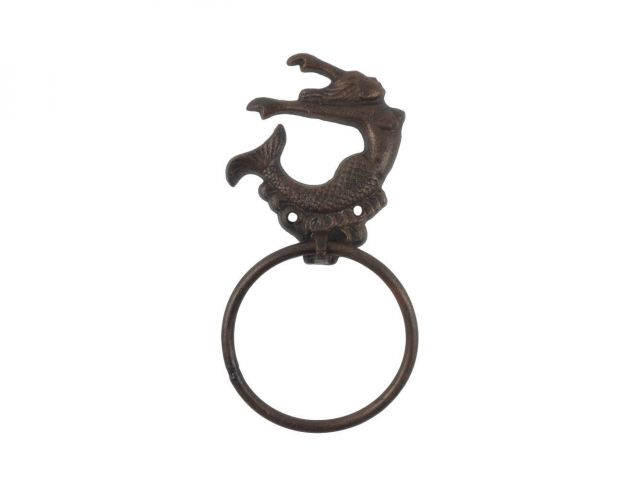 Rustic Copper Cast Iron Decorative Arching Mermaid Towel Holder 9
