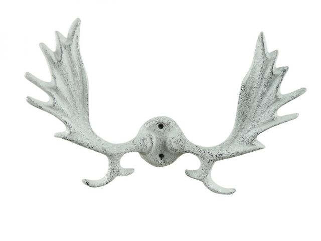 Whitewashed Cast Iron Moose Antler Decorative Metal Wall Hooks 8