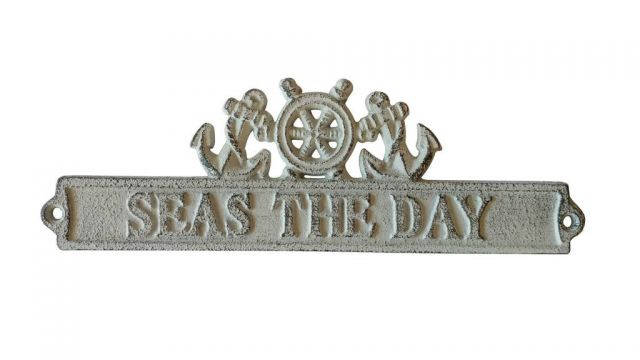 Whitewashed Cast Iron Seas the Day Sign with Ship Wheel and Anchors 9