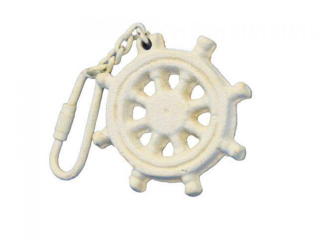Antique White Cast Iron Ship Wheel Key Chain 5