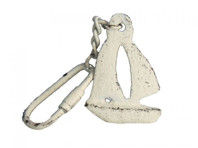 Whitewashed Cast Iron Sailboat Key Chain 5