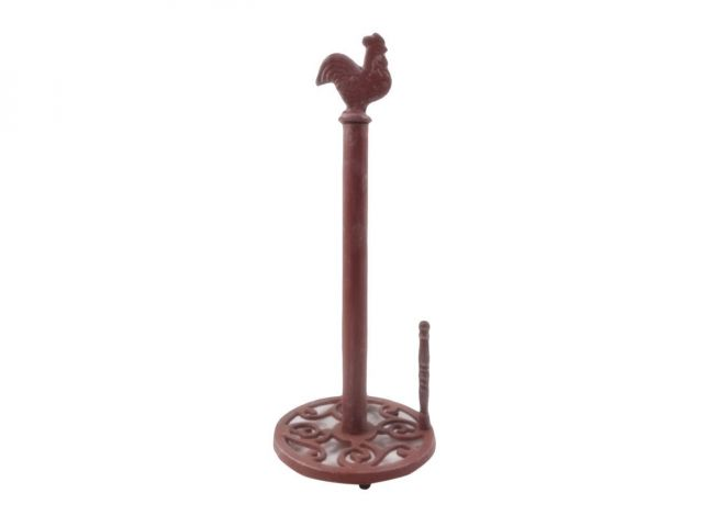 Rustic Red Whitewashed Cast Iron Rooster Paper Towel Holder 15