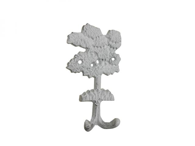 Whitewashed Cast Iron Oak Tree Decorative Metal Wall Hooks 6.5