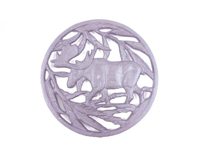 Cast Iron Moose in the Forest Kitchen Trivet 7.5