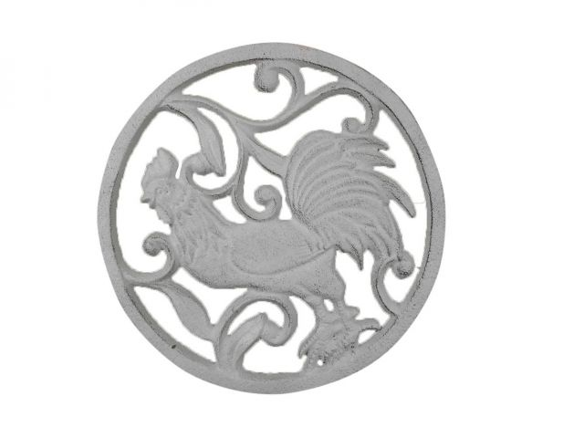 Whitewashed Cast Iron Rooster Trivet 8