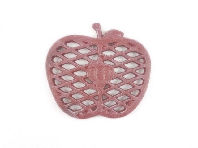 Rustic Red Whitewashed Cast Iron Apple Kitchen Trivet 6