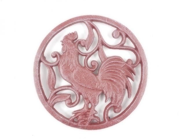 Rustic Red Whitewashed Cast Iron Rooster Trivet 8