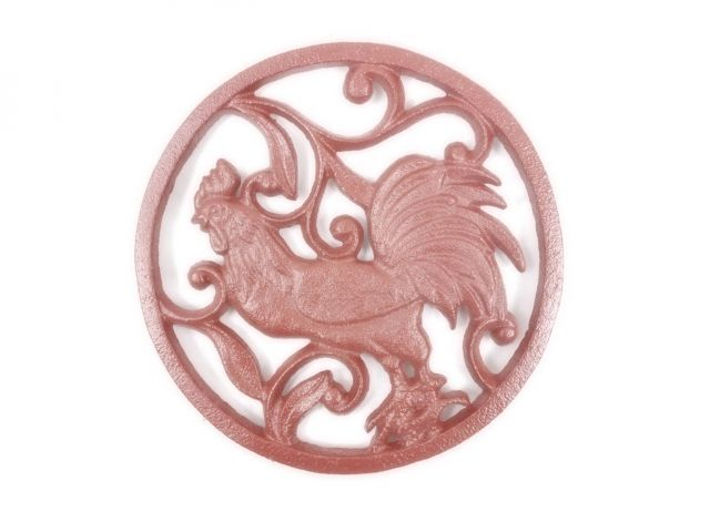 Rustic Red Cast Iron Rooster Trivet 8