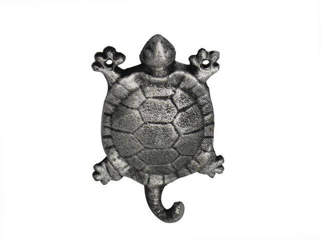 Rustic Silver Cast Iron Turtle Hook 6
