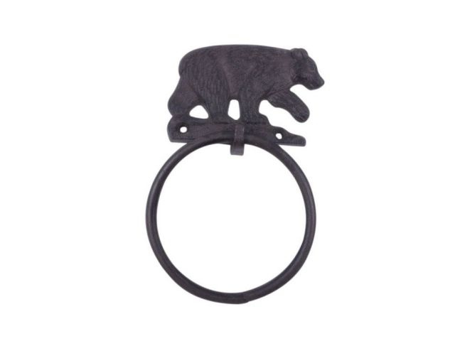 Cast Iron Black Bear Kitchen Bathroom Towel Ring 8.5