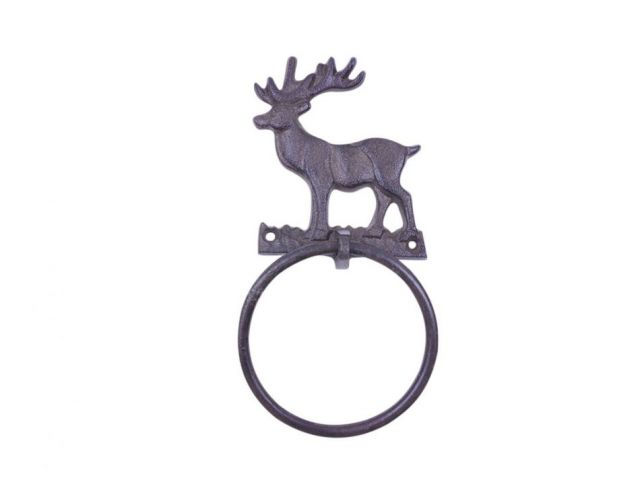 Cast Iron Moose Kitchen Bathroom Towel Ring 8.5